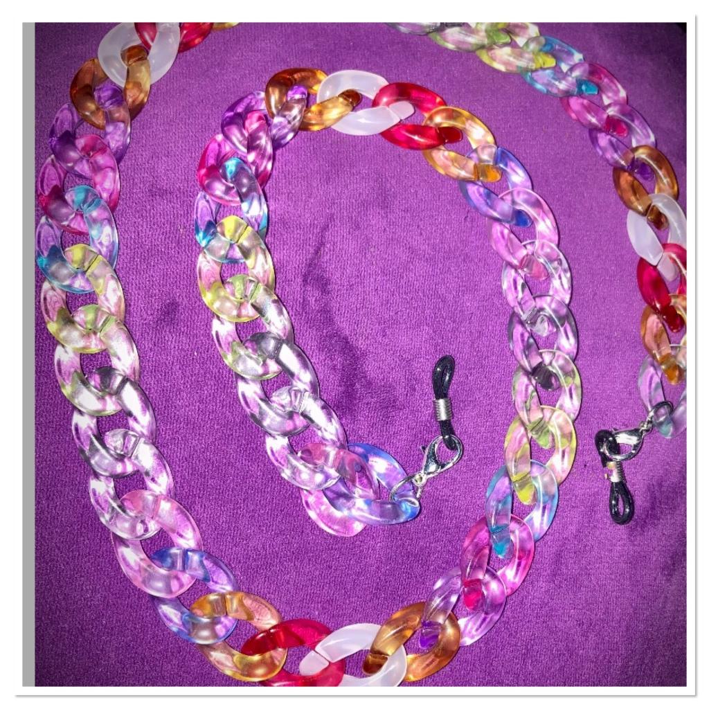 Rainbow  mask chain on purple background