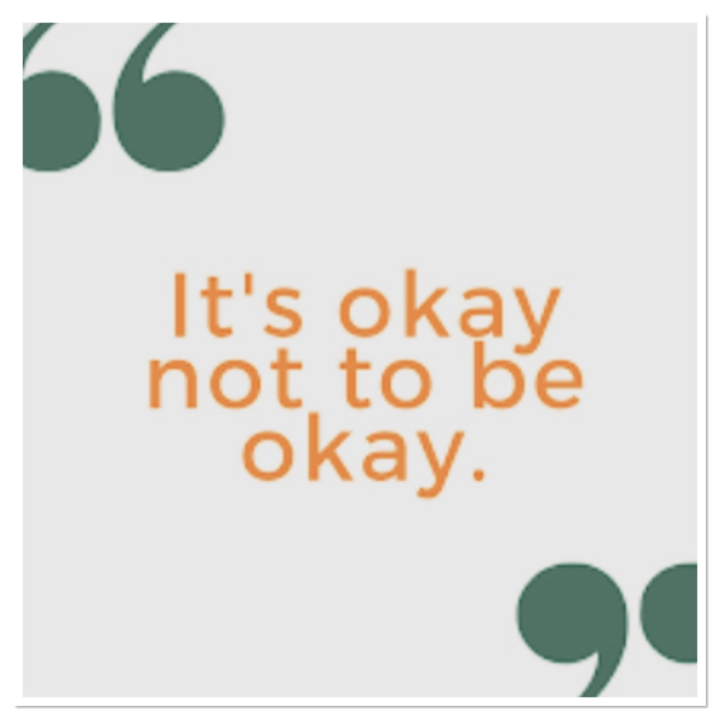 It's ok not to be ok in orange text with green quotation marks
