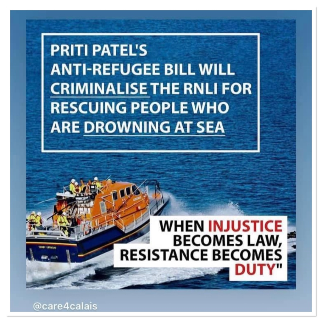 Lifeboat at sea with information about priti patels planned legislation