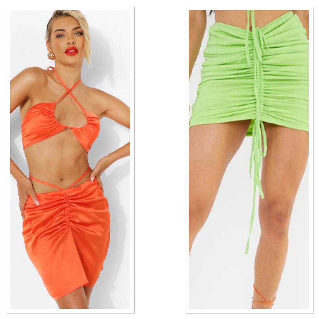 Orange shiny satin straps dress & lime green ruched mini skirt