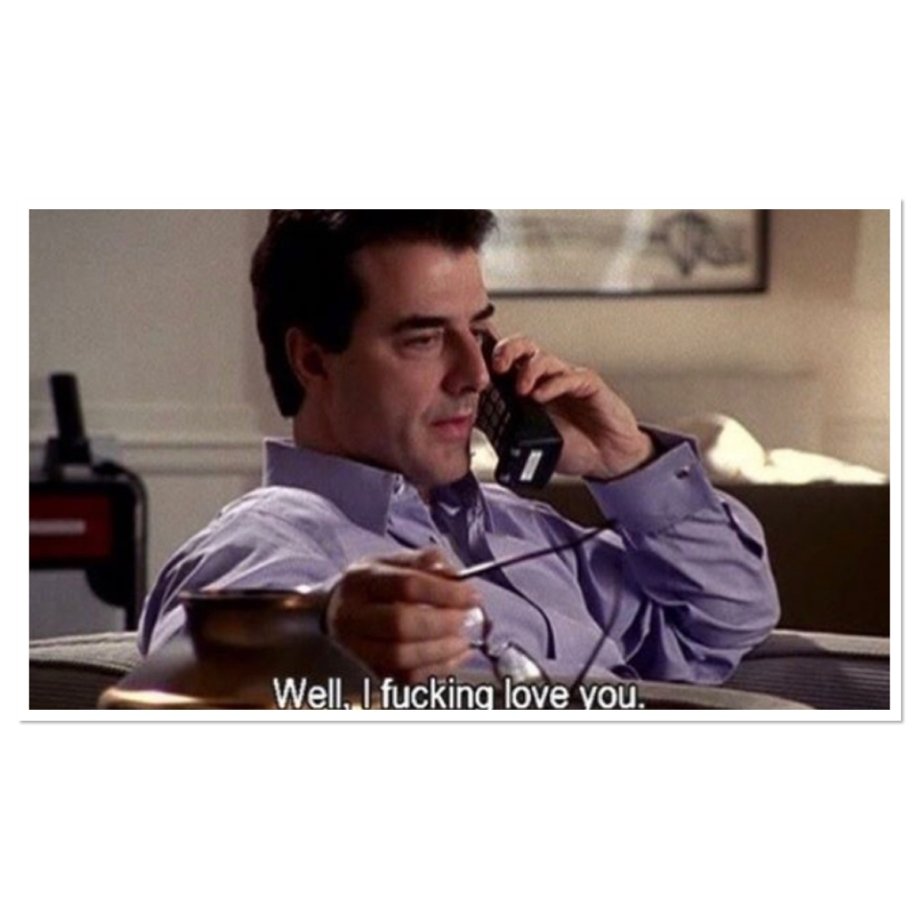 Still from sex and the city of Chris noth on the phone saying I fucking love you