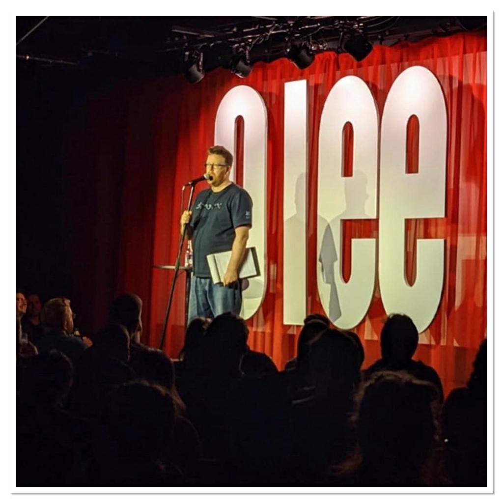 Frankie Boyle on stage at glee club